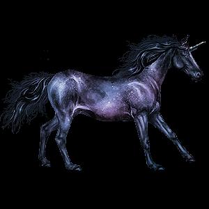 Winged riding unicorn Nokota Dark bay Overo