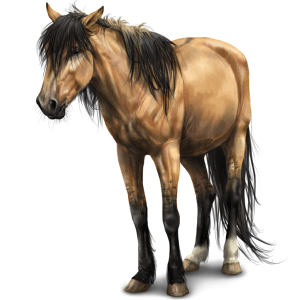 Верховая лошадь Мустанг вишнёво-гнедой попоной
