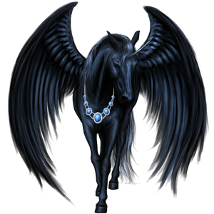 Licorne de selle ailée Arabe Noir