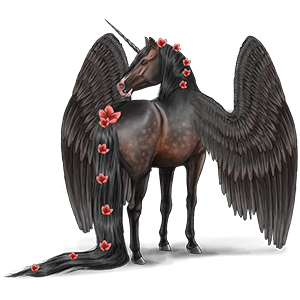 Winged riding unicorn Marwari Liver chestnut