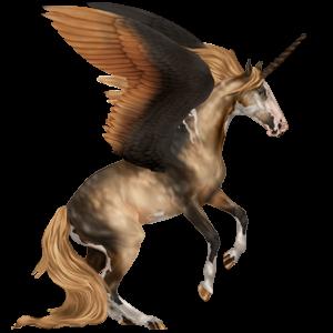 Licorne de selle ailée Paint Horse Pie Tovero Palomino