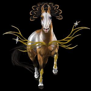 Pegasus-Reitpferd Achal-Tekkiner Dunkelfuchs