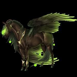 Gevleugelde rijpaard-eenhoorn Lusitano Wildkleur