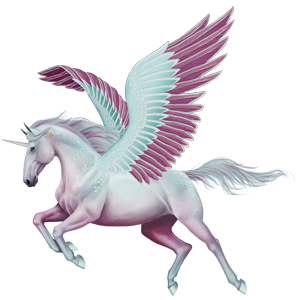 Winged riding unicorn Quarter Horse Light Gray