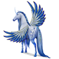Winged riding unicorn Liver chestnut Tobiano