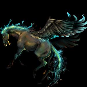 Riding pegasus Mustang Dapple Gray