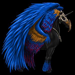 Winged riding unicorn Quarter Horse Black
