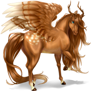 Winged riding unicorn Akhal-Teke Palomino