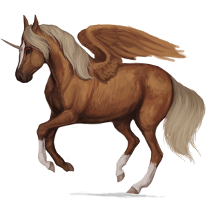 Winged riding unicorn Shagya Arabian Chestnut
