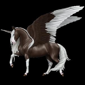 Geflügeltes Einhorn-Reitpferd Achal-Tekkiner Roan