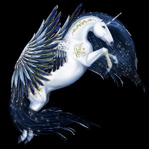 Geflügeltes Einhorn-Reitpferd Araber Roan