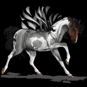 Bevinget rideenhjørning Paint horse Rød Tobiano