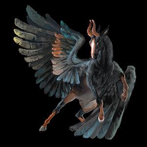 Winged riding unicorn Canadian Horse Black