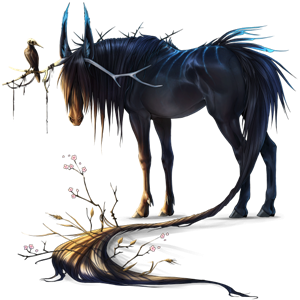 Winged riding unicorn Nokota Bay Overo