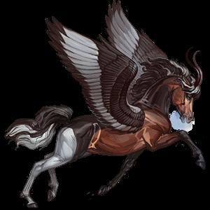 Unicornio de montar alado Árabe Alazán