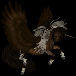Unicornio de montar alado Nokota Pío Overo negro