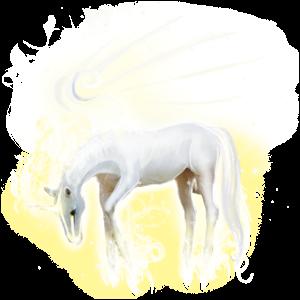Winged riding unicorn Barb Dapple Gray