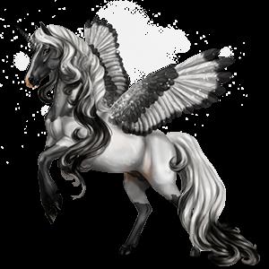Unicornio poni alado  Poni Highland Gris ratón