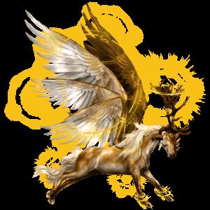 Winged riding unicorn Brumby Palomino