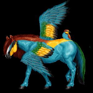 Pegasus-Reitpferd Nokota Dunkelbrauner mit Overo-Scheckung