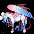 Winged riding unicorn Mustang Cremello
