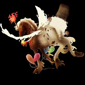 Winged draft unicorn Shire Light Gray