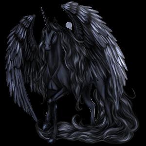 Gevleugelde rijpaard-eenhoorn Mustang Zwart
