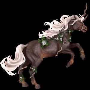 Riding unicorn Holsteiner Bay