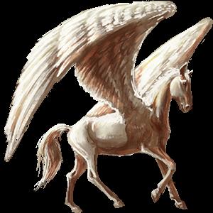 Riding pegasus Thoroughbred Cremello