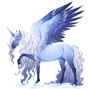Winged riding unicorn Vanner Dapple gray Tobiano