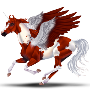 Winged riding unicorn Paint Horse Dark bay Overo