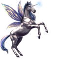Winged riding unicorn Peruvian Paso Cremello