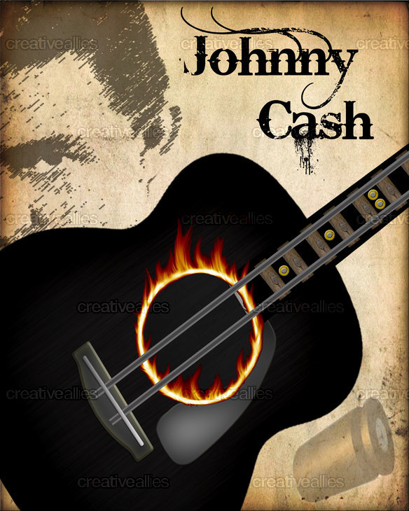johnny cash poster by jacobrenodesign. Black Bedroom Furniture Sets. Home Design Ideas