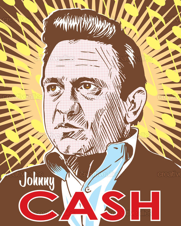 johnny cash poster by red robot. Black Bedroom Furniture Sets. Home Design Ideas