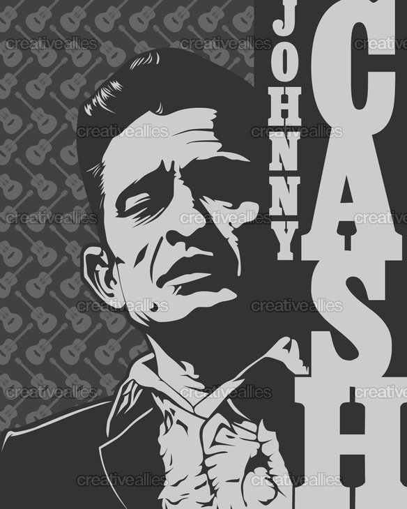 Johnny cash poster by adrian latscu on creativeallies com
