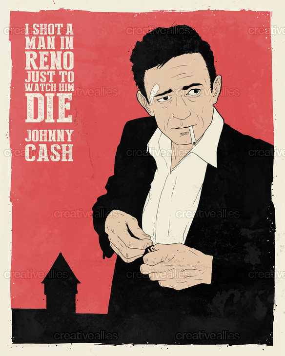 johnny cash poster by dustin pipkins. Black Bedroom Furniture Sets. Home Design Ideas
