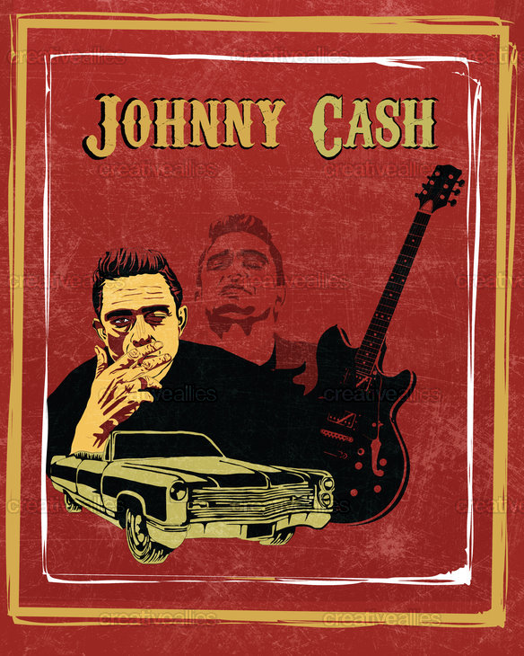 the gallery for young johnny cash poster. Black Bedroom Furniture Sets. Home Design Ideas