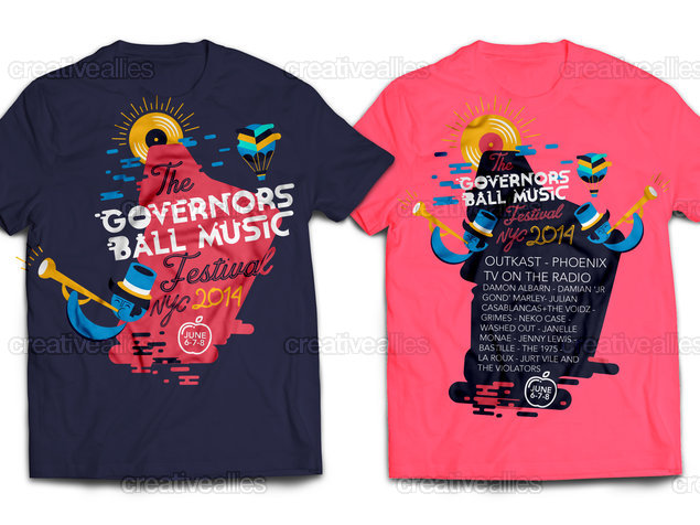 The governors ball music festival merchandise graphic by saul Music shirt design ideas