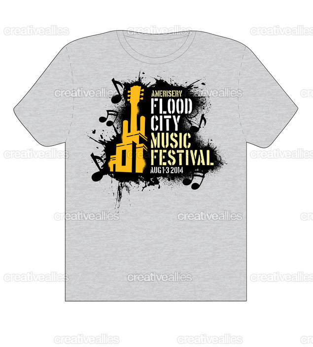 Design a t shirt for ameriserv flood city music festival Music shirt design ideas