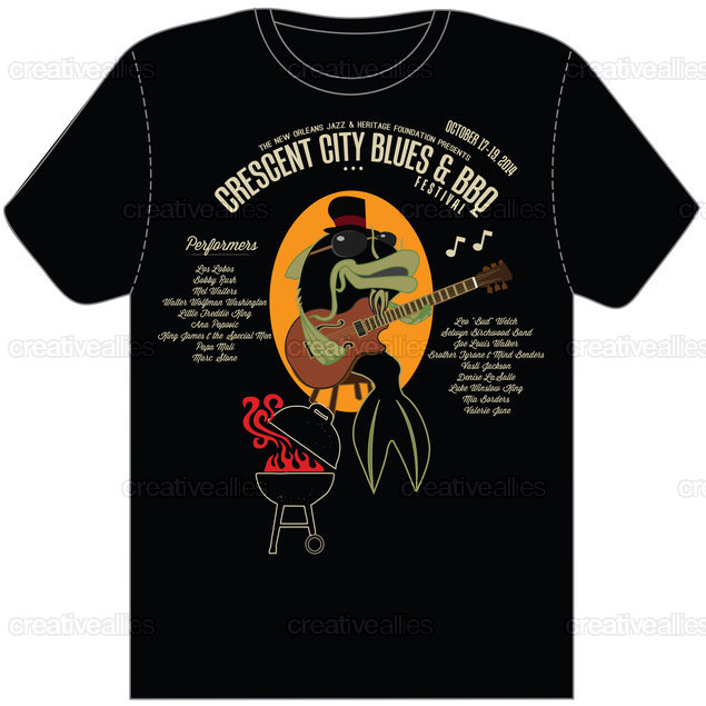 The Crescent City Blues & BBQ Festival T-Shirt by Lorenzo Belmonte on CreativeAllies.com