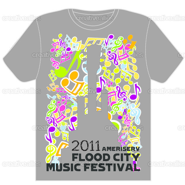 Design the t shirt for ameriserv flood city music festival Music shirt design ideas