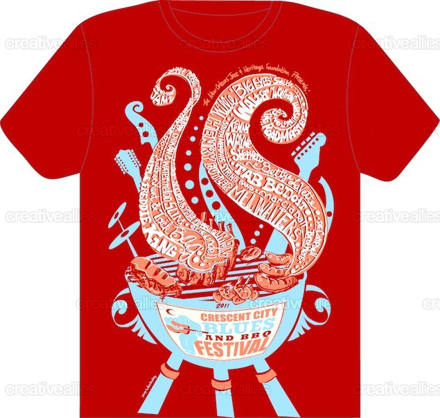 Design a t shirt for the crescent city blues bbq for T shirt design festival