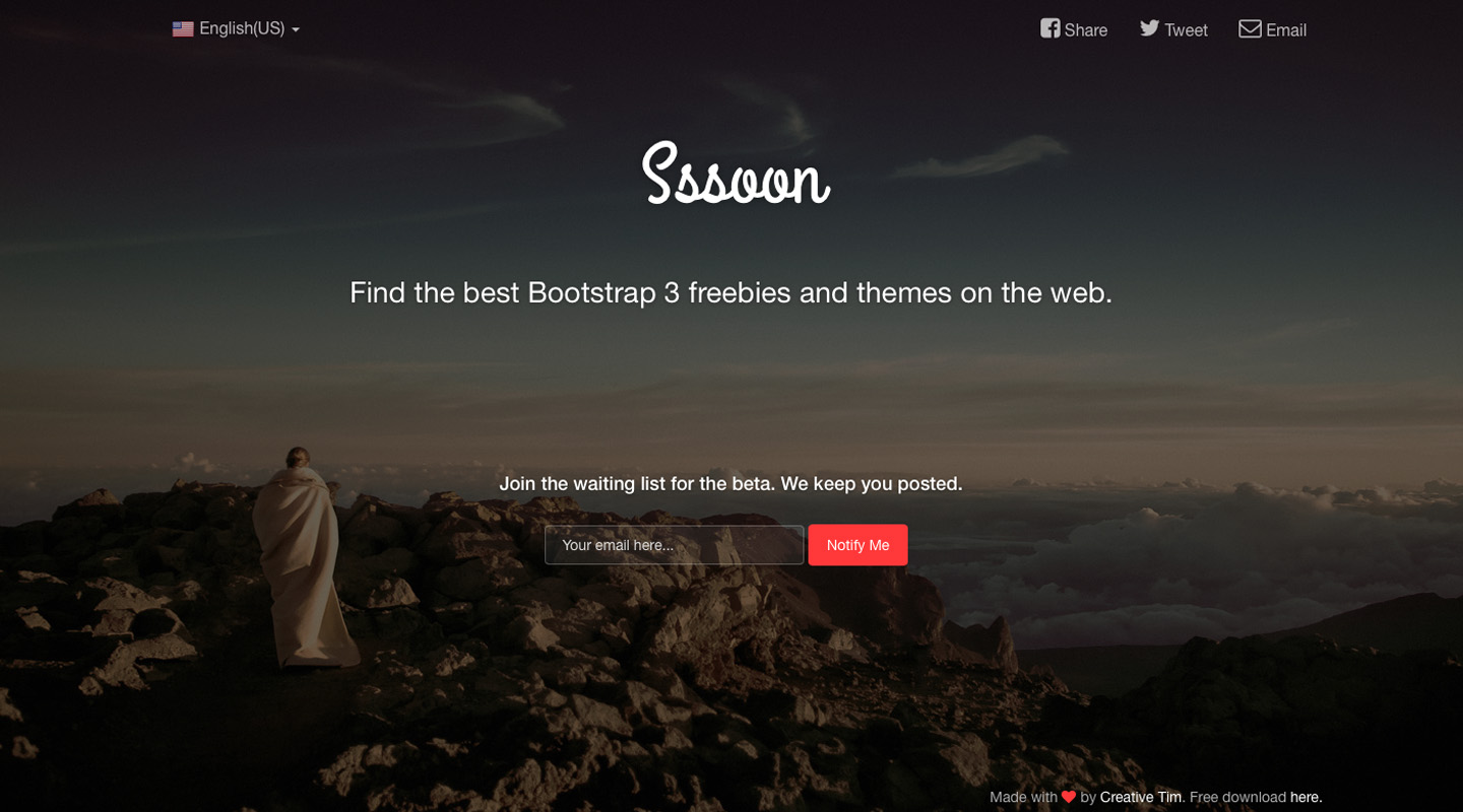 Coming Sssoon Page: Free One Page Bootstrap Template @ Creative Tim