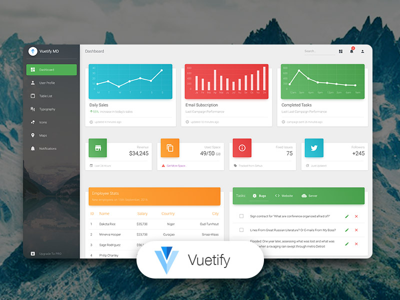 Vuetify Material Dashboard Image
