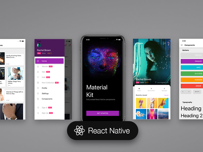 material kit react native premium react native app. Black Bedroom Furniture Sets. Home Design Ideas