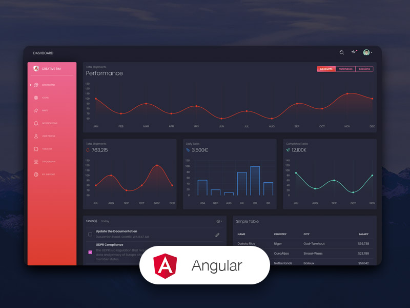 Black Dashboard Angular Image