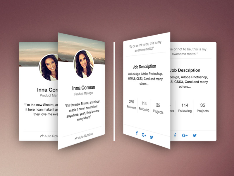Rotating CSS Card: Cards Snippet @ Creative Tim