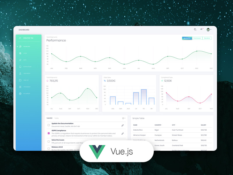 Vue White Dashboard Image