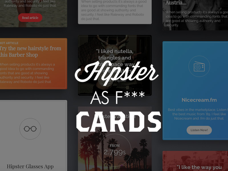 Hipster As F*** Cards: Cards Snippet @ Creative Tim