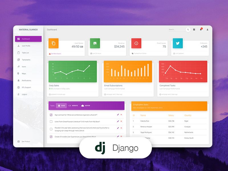 Material Dashboard Django - Free Django Starter provided by AppSeed and Creative-Tim.